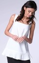 White Sleeveless Vest Tunic Top with Frill by Bergamo