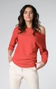 Red Long Sleeve Asymmetric Blouse Top by Bergamo