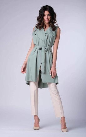 Green Long Sleeveless Jacket by Bergamo