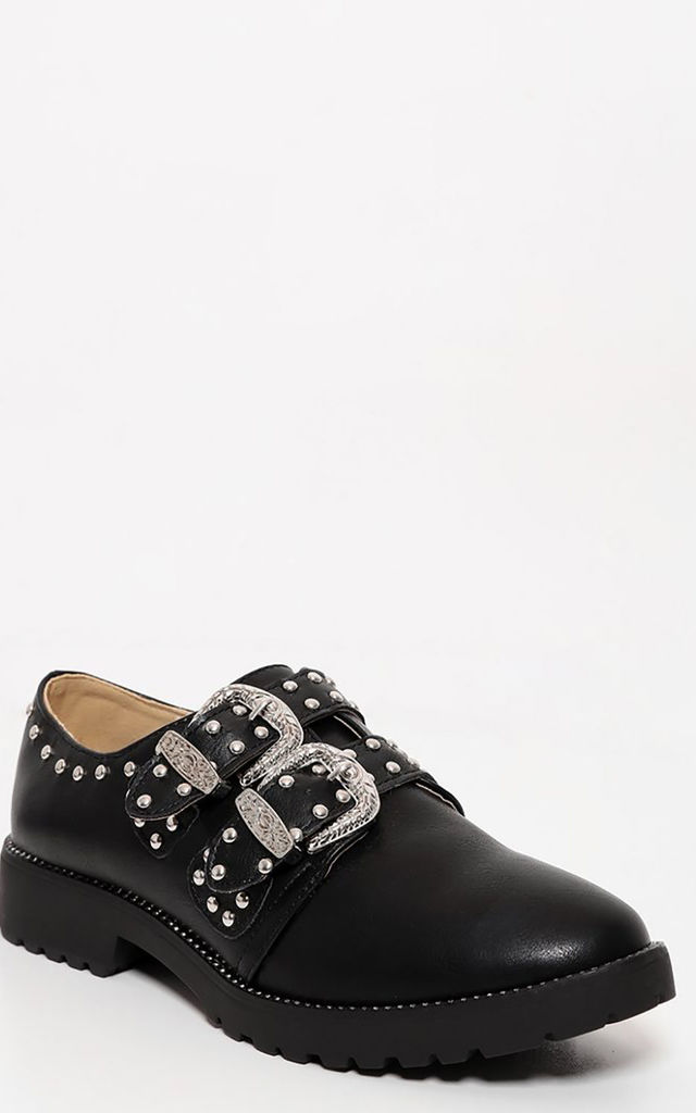 Studded Buckle Detailed Black Flat Shoes by WANTD