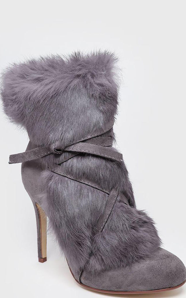 Grey Faux Fur Laced Up Stiletto Ankle Boots by WANTD