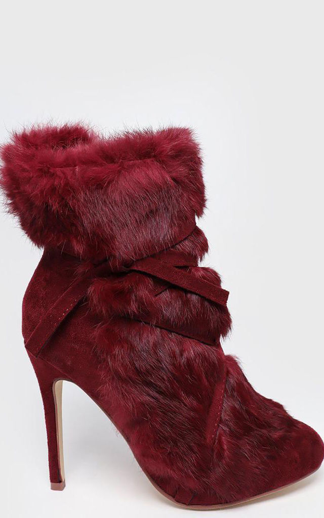 Red Faux Fur Laced Up Stiletto Ankle Boots by WANTD
