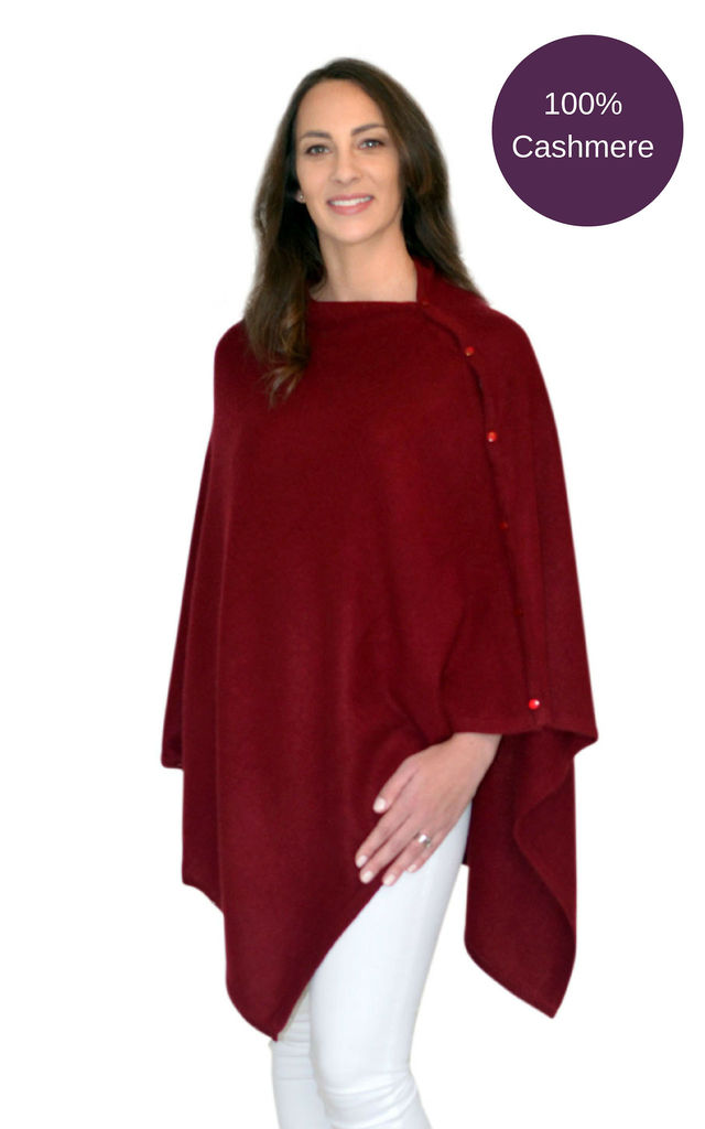 Burgundy 100% Pure Cashmere Button Poncho Travel Wrap by Mimi & Thomas® cashmere & leather