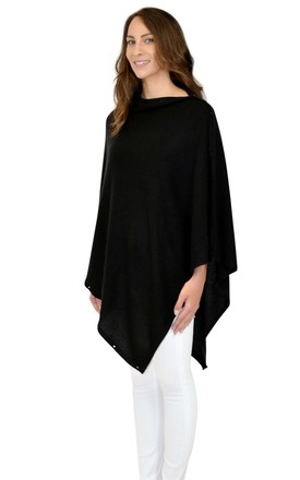 Black 100% Cashmere Button Poncho Scarf by Mimi & Thomas® cashmere & leather