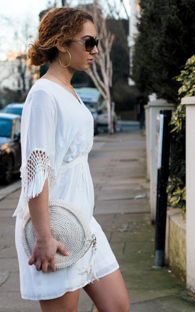 BOM BOM White Dress with White Embroidery & Fringing by Seventy Six Fashion