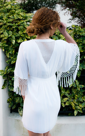 Bom Bom White Dress With White Embroidery & Fringing by Seventy Six Fashion Product photo