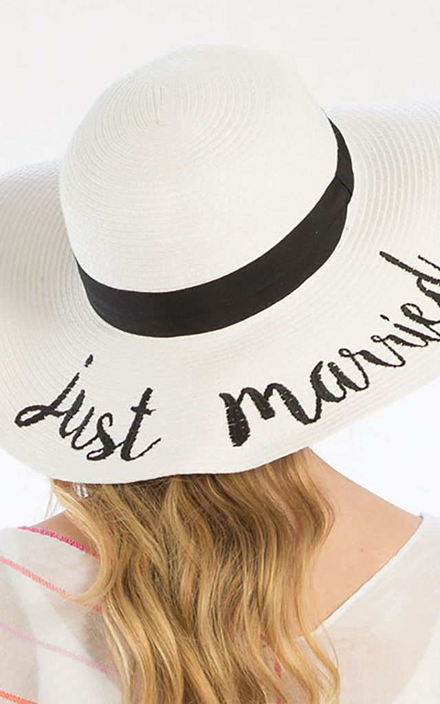 Just Married White Straw Floppy Sun Hat by Arcus Accessories