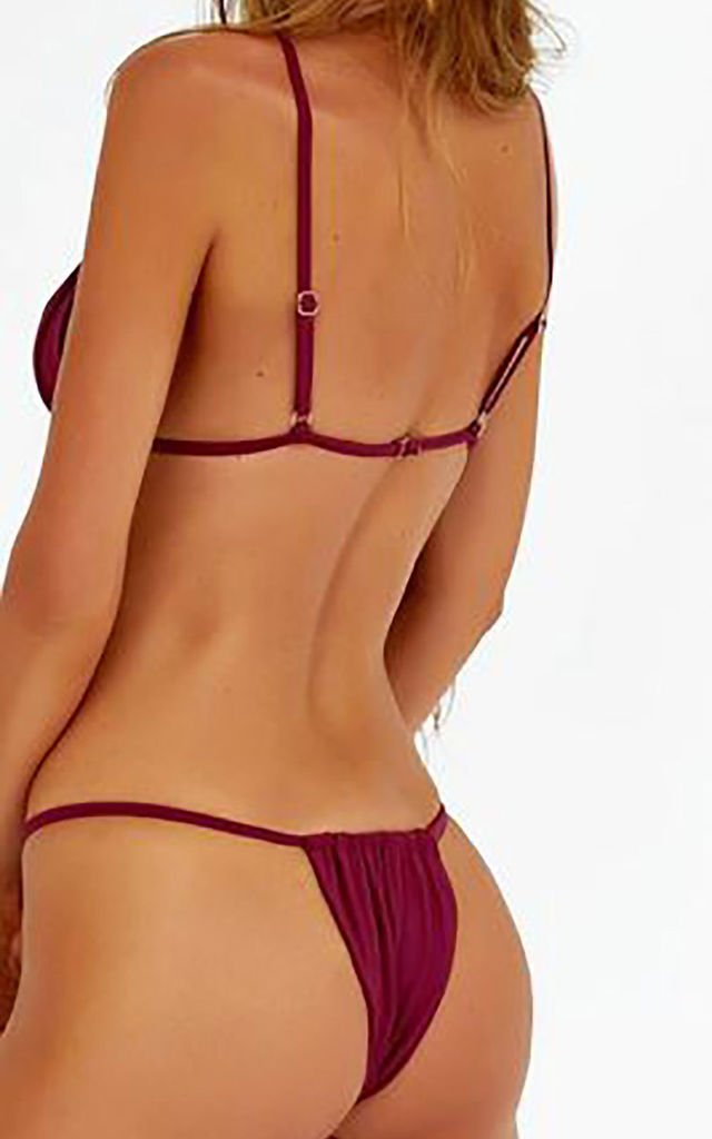 Burgundy Red Bikini with Thong Bottoms by Arcus Accessories