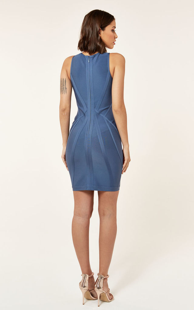 Blue Bandage Contour Mini Dress by The Girlcode