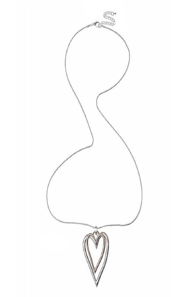 Double Heart Silver and Rose Gold Necklace by Nautical and Nice Ltd