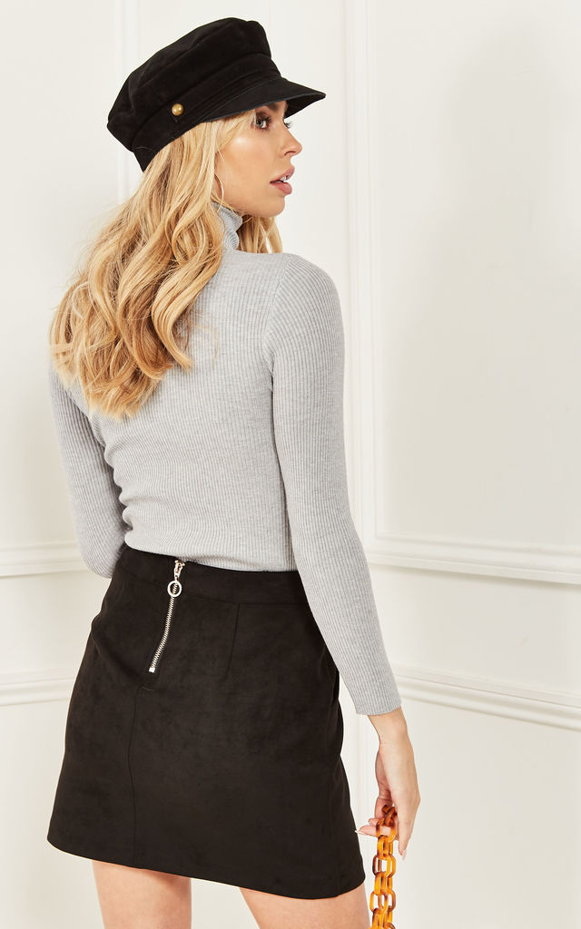 Grey High Neck Fitted Ribbed Jumper by Bella and Blue