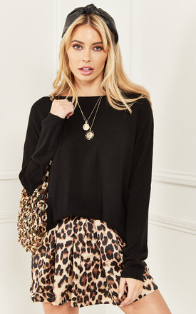 Black Oversized High Low Jumper by Lilah Rose