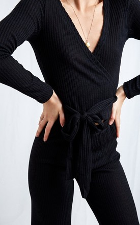 Bonnie Knit Wrap Top   Black by Pretty Lavish Product photo