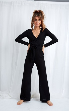 Bonnie Knit Flare Trousers   Black by Pretty Lavish Product photo
