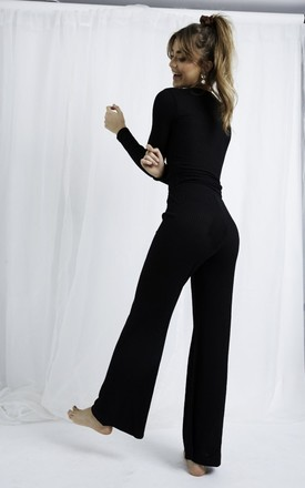 Bonnie Knit Flare Trousers - Black by Pretty Lavish