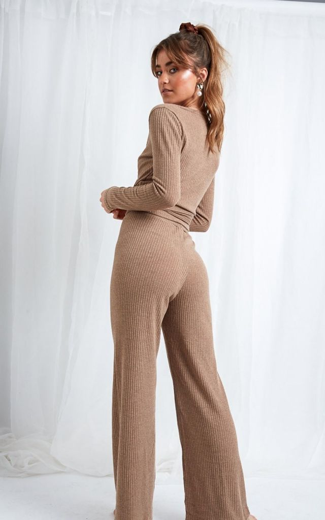 Bonnie Knit Flare Trousers - Beige by Pretty Lavish