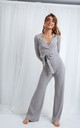 Bonnie Knit Flare Trousers - Grey by Pretty Lavish