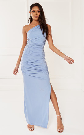 Exclusive Angelina Blue One Shoulder Maxi Bridesmaid Dress by Revie London Product photo