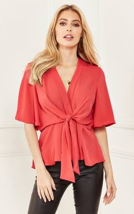 Coral Kimono Knot Top by Bella and Blue Product photo