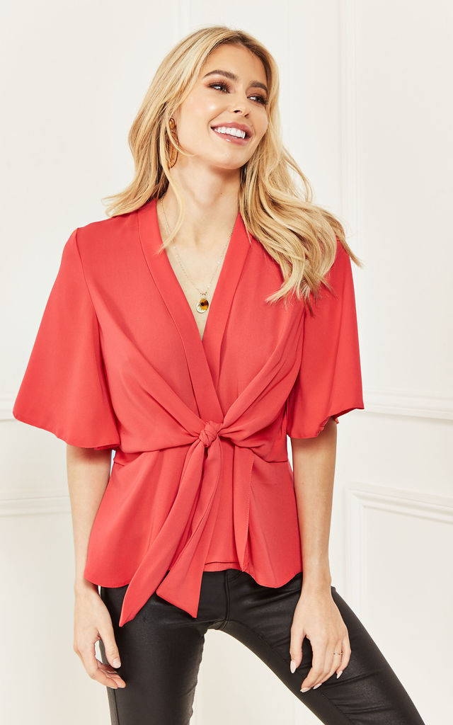 Coral Kimono Knot Top by Bella and Blue