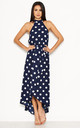 Navy Polka Dot Print High Neck Midi Dress by AX Paris