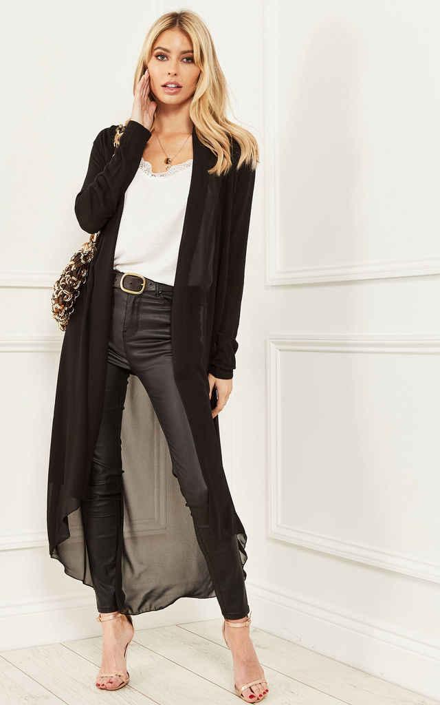 6946a78b94c Black Sheer Longline Cardigan By Bella and Blue