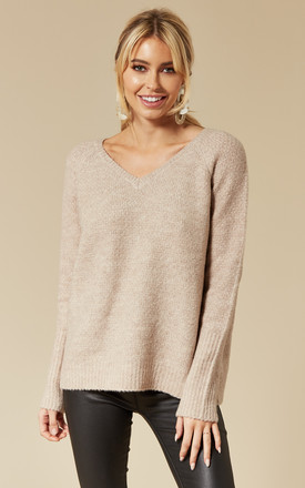 Natural Melange V Neck Jumper by VILA Product photo