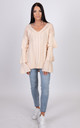 Verity Knitted Beige Jumper with Flared Sleeves by Miss Attire
