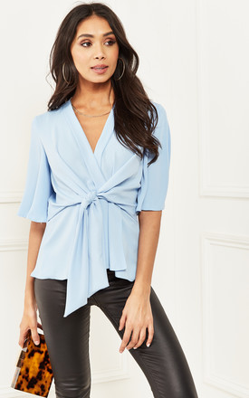 Sky Blue Kimono Knot Top by Bella and Blue