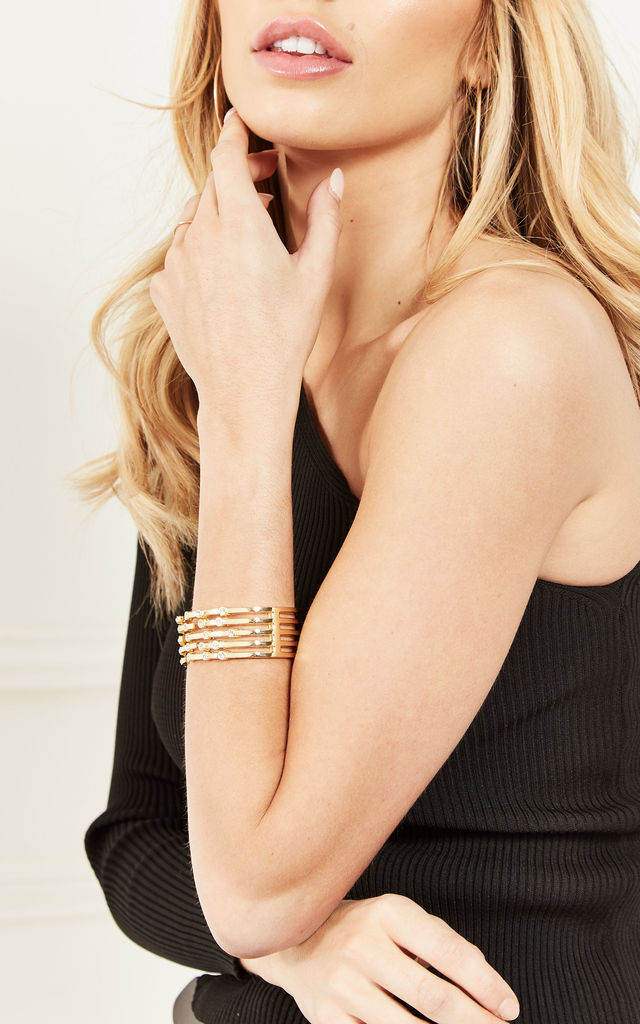 Gold Diamante Bangle by Bella and Blue