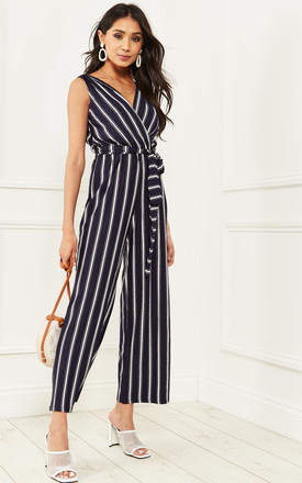 Navy Stripe Wrap Top Jumpsuit With Tie Waist by Bella and Blue Product photo