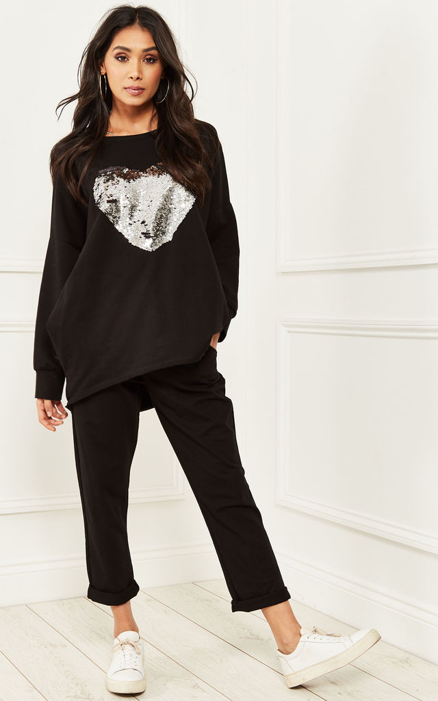 Black Sequin Heart Lounge Set by Bella and Blue
