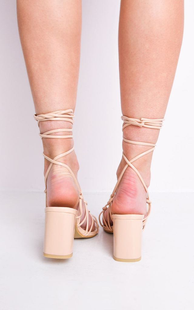 e350577c81db Knotted Strappy Block Heel Lace Up Sandals Cream | LILY LULU FASHION ...