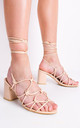 Knotted strappy block heel lace up sandals cream by LILY LULU FASHION