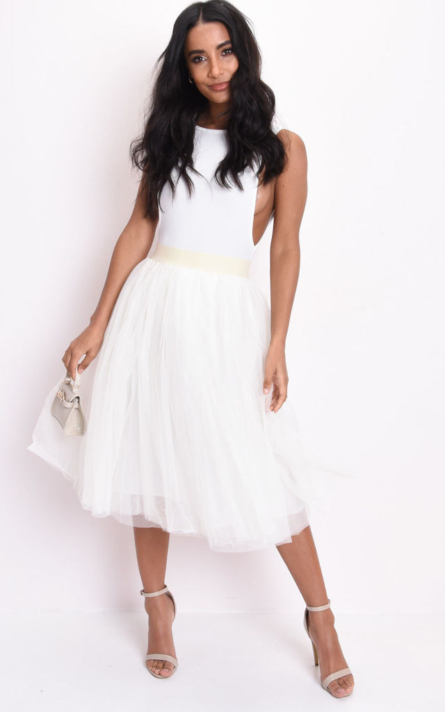 High waisted layered mesh tulle midi skirt cream by LILY LULU FASHION