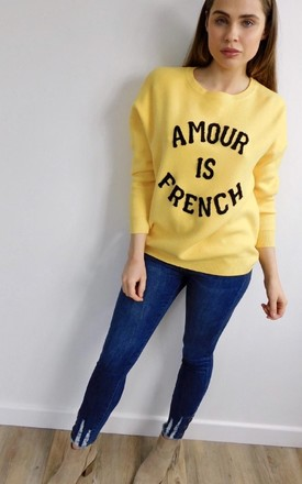 'Amour Is French' Slogan Jumper in Yellow by Style Mode