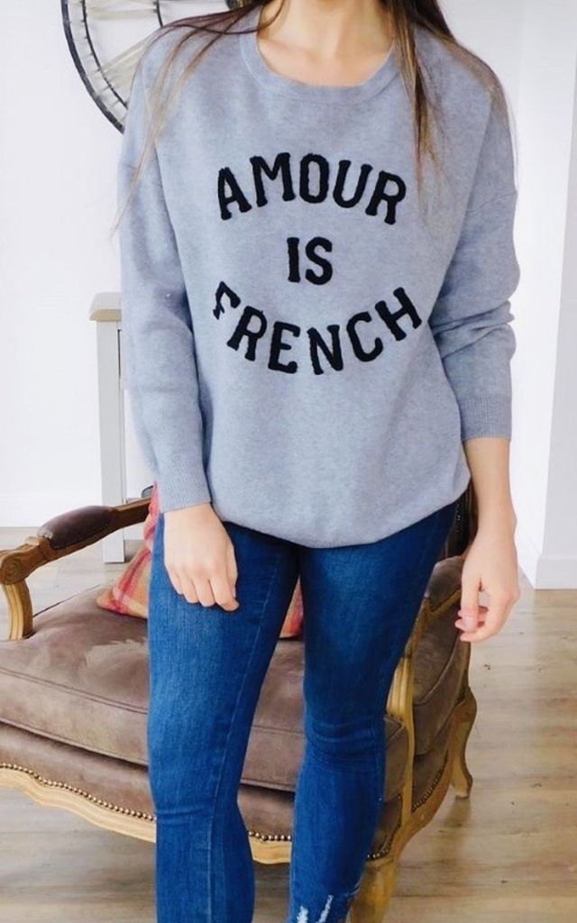 'Amour Is French' Slogan Jumper in Grey by Style Mode