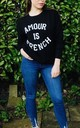 'Amour Is French' Slogan Jumper in Black by Style Mode