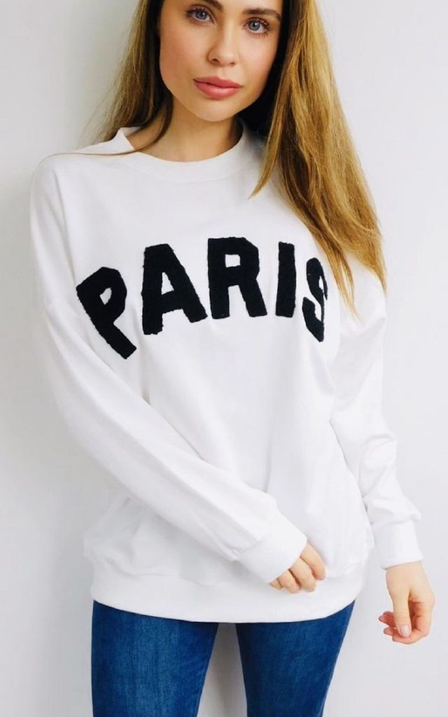 """Paris"" Slogan Sweater in White and Black by Style Mode"