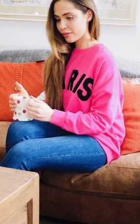 """Paris"" Slogan Sweater in Pink and Black by Style Mode"