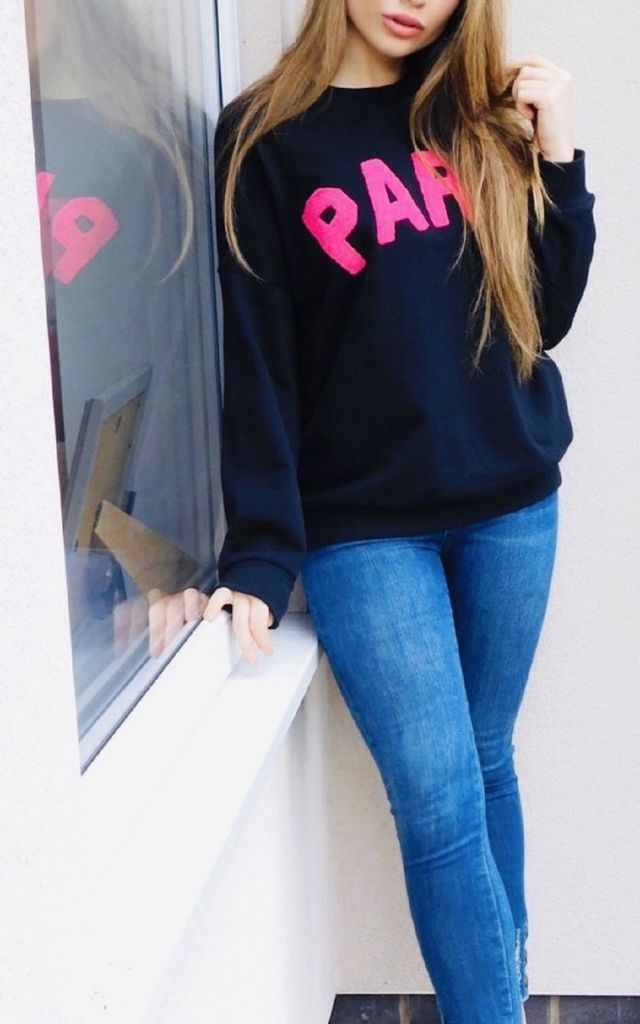"""Paris"" Slogan Sweater in Black and Pink by Style Mode"