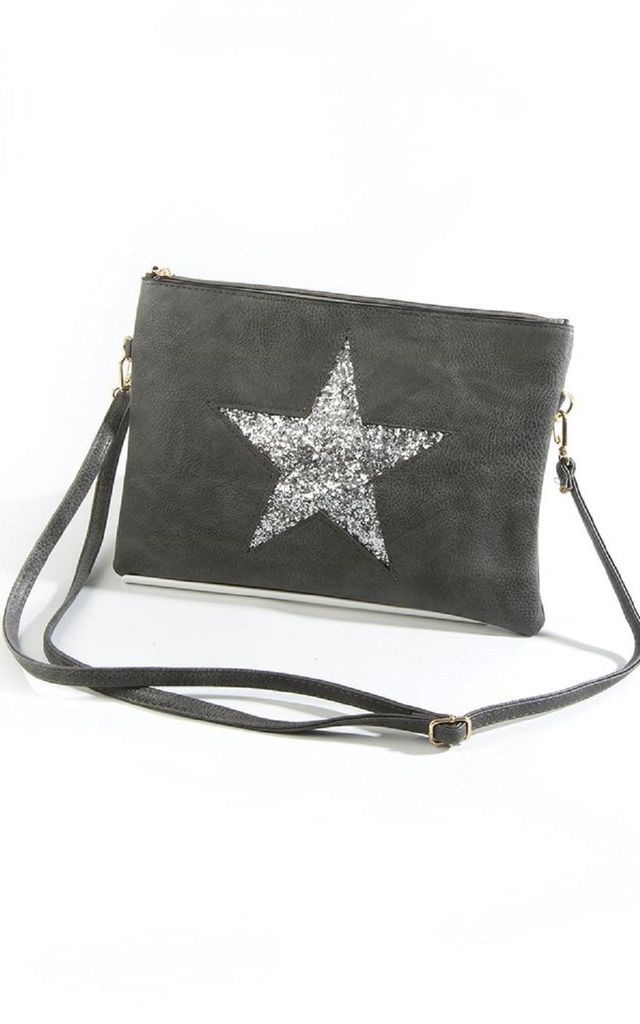 Faux Leather Bag with Silver Glitter Star in Dark Grey by Nautical and Nice Ltd