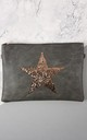 Faux Leather Bag with Rose Gold Glitter Star in Dark Grey by Nautical and Nice Ltd