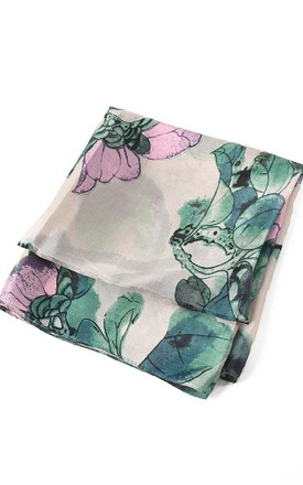 Pink Lotus Flower Silk Scarf by Nautical and Nice Ltd