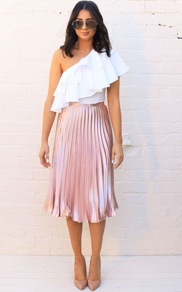 Metallic Satin Pleated High Waisted Midi Skirt in Rose Gold by One Nation Clothing