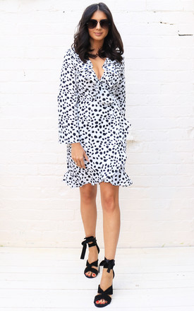Long Sleeve Frill Edge Fixed Wrap Dress In Dalmatian Print by One Nation Clothing Product photo
