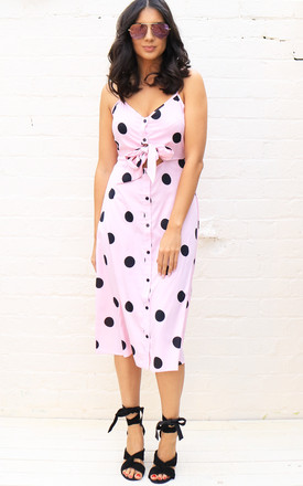 Big Spot Polka Dot Cut Out Tie Front Midi Sun Dress In Pink & Black by One Nation Clothing Product photo