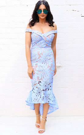 Bardot Lace Midi Fishtail Dress in Blue/Nude by One Nation Clothing