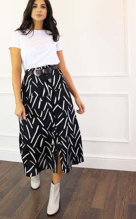 Button Through Midi Skirt in Black/White Brush Stroke by One Nation Clothing