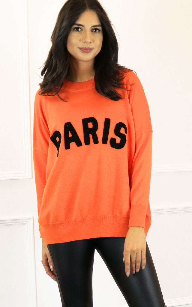 Paris Slogan Oversized Soft Light Knit Jumper in Orange & Black by One Nation Clothing